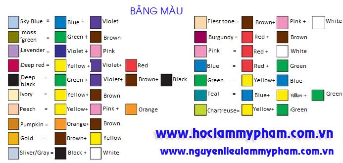 Bảng phối màu - bang pha mau son handmade