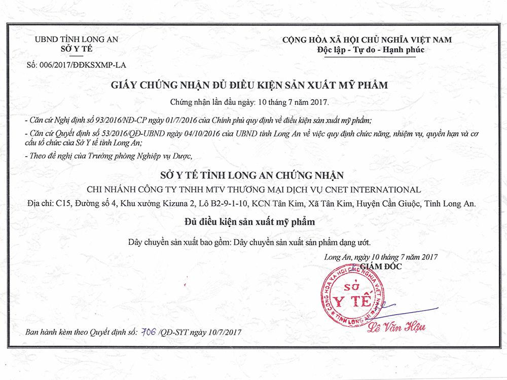 giấy chứng nhận cơ sở đủ điều kiện sản xuất mỹ phẩm