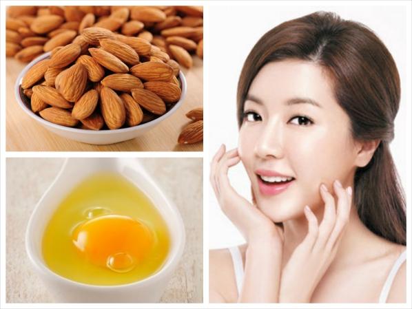 Chăm sóc da với lòng trắng trứng gà và dầu hạnh nhân
